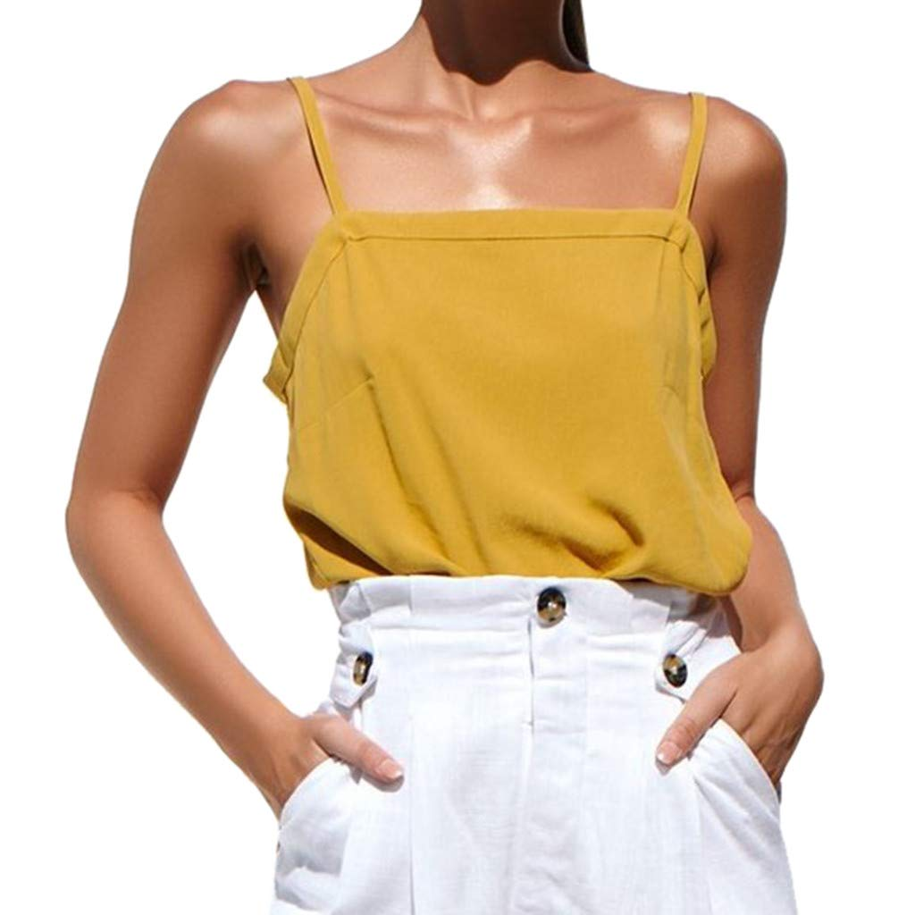 NUWFOR Women Sleeveless Pure Color Bandage Camisole Vest Tops Loose T-Shirt Blouse(Yellow,US S Bust:30.65'')