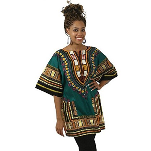 DaySeventh Traditional Thailand Style African Print Dashiki T-Shirt Loose Blouse Tops (XL, Green)