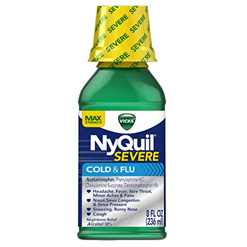 Vicks NyQuil SEVERE Cough Cold and Flu Nighttime Relief, Original Liquid, 8 Fl Oz (Nyquil And Dayquil At The Same Time)