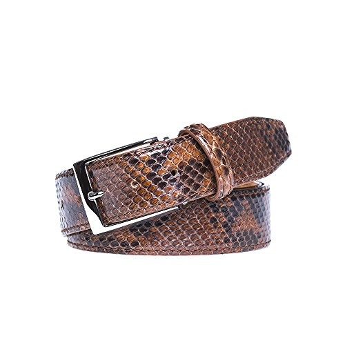 Cognac Python Leather Belt by Roger Ximenez: Bespoke Maker of Fine Leather Goods