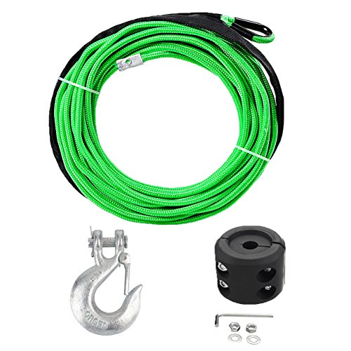 1/4 7000lbs Synthetic Winch Rope Heat Guard with Forged Hook and Rubber Stopper for Car SUV ATV UTV KFI Ramsey Truck ()