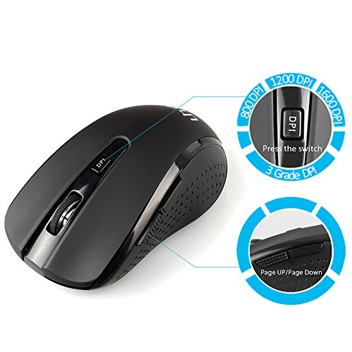 Uhuru WKM-14 2.4G Wireless Mouse Portable Computer Optical Mouse Cordless Laser Travel Mice with Nano Receiver, 5 Buttons, 800/1200/1600 DPI for Notebook, PC, Laptop, Macbook