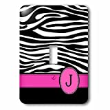 3dRose LLC lsp_154281_1 Letter J Monogrammed Black and White Zebra Stripes Animal Print with Hot Pink Personalized Initial Single Toggle Switch