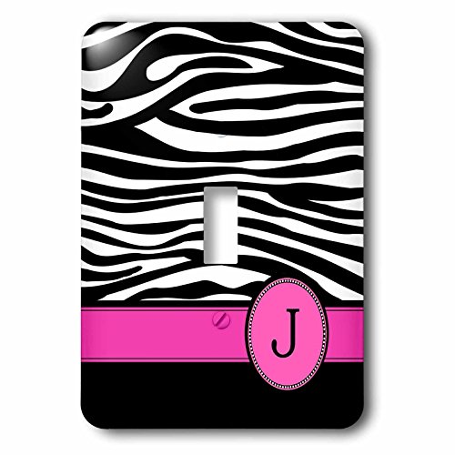 3dRose LLC lsp_154281_1 Letter J Monogrammed Black and White Zebra Stripes Animal Print with Hot Pink Personalized Initial Single Toggle Switch by 3dRose