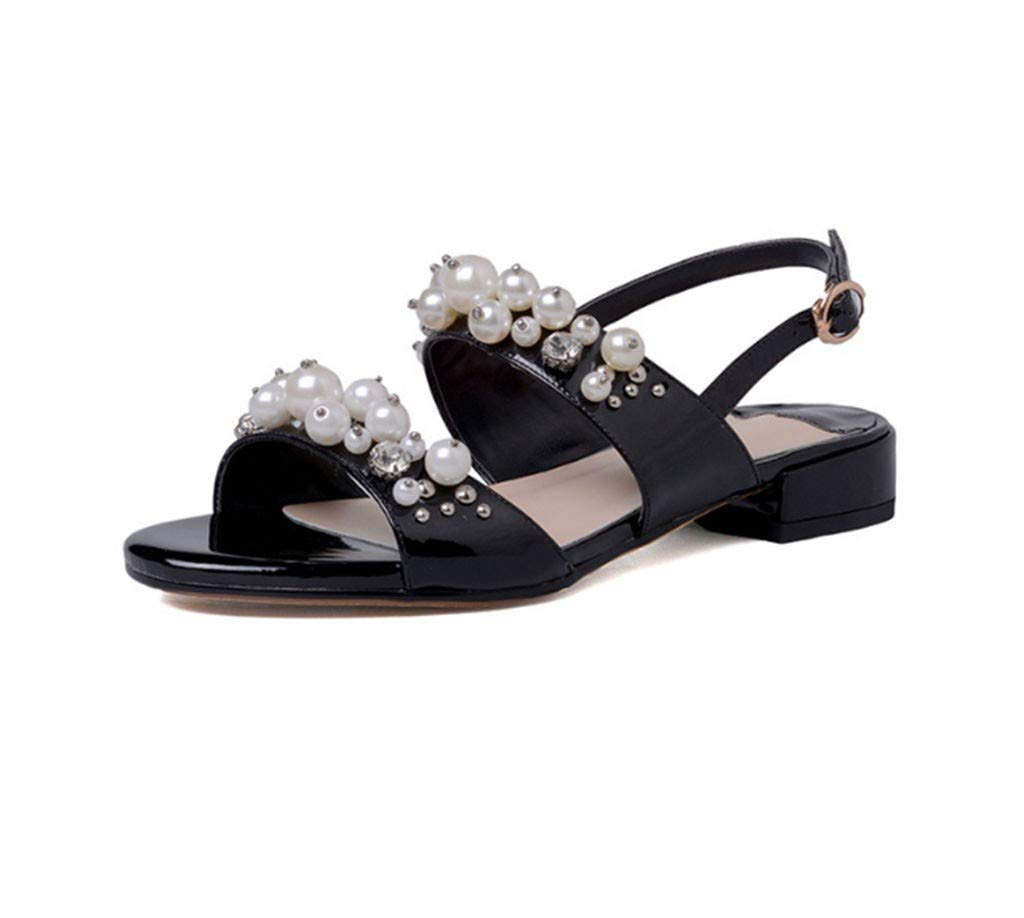 Sandales pour femmes, version coréenne de talons bas à bout ouvert épais avec talons épais en cuir et sandales en cuir Bas pour aider les chaussures Chaussures de marée confortable Chaussures pour fem