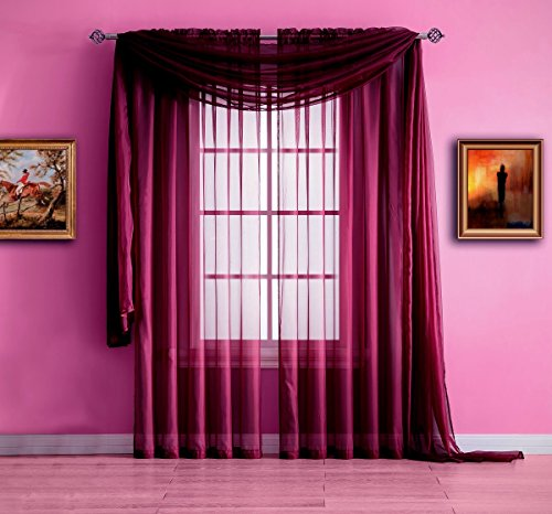 Warm Home Designs Extra Long Plum Purple Sheer Window Scarf. Valance Scarves are 56 X 216 Inches In Size. Great As Window Treatments, Bed Canopy Or For Decorative Project. Color: - Burgundy Purple