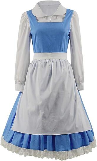 Beauty and the Beast Princess Belle Maid Women Dress Halloween Cosplay Costume