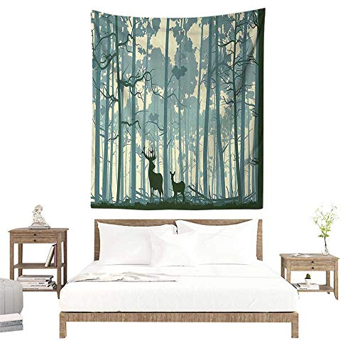 (alisoso Wall Tapestries Hippie,Deer,Silhouette of Animal in Foggy Forest Animals in Nature Themed Cartoon Dusk,Black White Grey W39 x L39 inch Tapestry Wallpaper Home Decor)