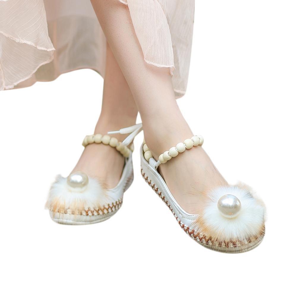 AIMTOPPY HOT Sale Lady Retro Beaded Ethnic Embroidered Shoes Bandage Shoes (US:7.5, White)