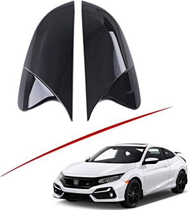 Boltry ABS Engineering Plastics,Carbon Fiber Print Chrome Automobile Door Side Rearview Mirror Cover Trim for Honda 10th Civic 2016 2017 2018 2019 2020