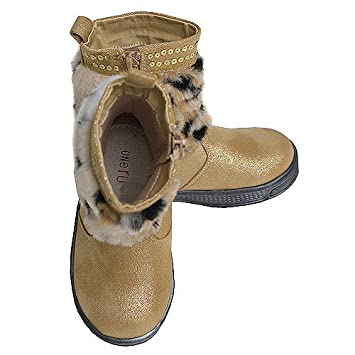 78346e4fd8d Amazon.com   One Ruby Lane Toddler Girls Gold Faux Fur Glitter Zipper Boots  7-12   Baby Products   Baby