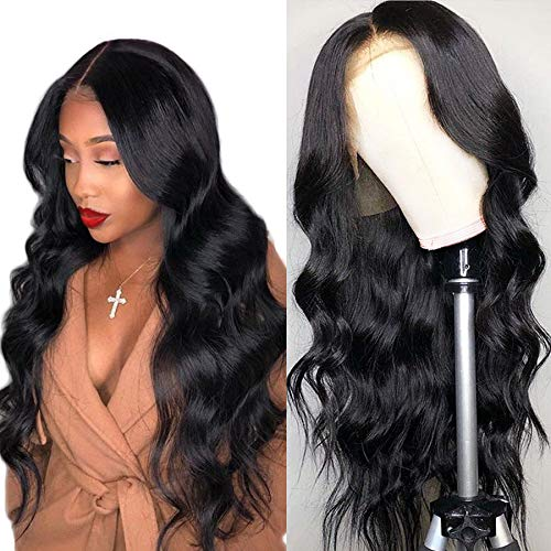Luduna Brazilian Virgin Hair Body Wave Lace Front Wigs 130% Density Glueless Pre-Plucked Lace Front Wigs with Baby Hair 8a 100% Unprocessed Human Hair Wigs for Black Women (16'', Natural Color) ()