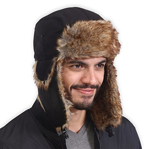 Styles Cold Weather Hats - Tough Headwear Trapper Hat with Faux Fur & Ear Flaps - Ushanka Aviator Russian Hat for Serious Expeditions & Serious Style. Waterproof, Windproof & Thermal Shell for Winter Warmth - Fits Men & Women