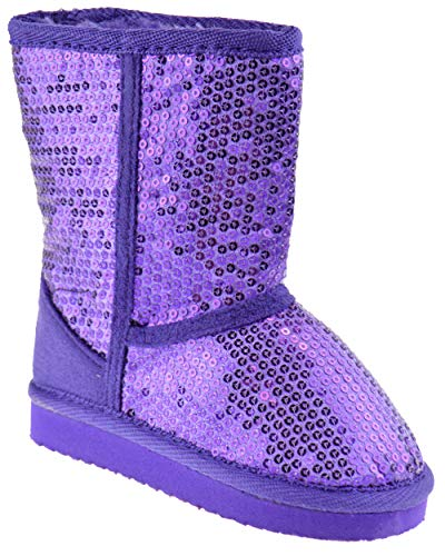Ositos FEBE Baby Girls Sequin Faux Fur Mid Calf Shearling Boots Purple 7 -