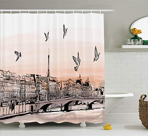 Ambesonne Apartment Decor Shower Curtain Set, Panorama Sketch Art Sunset View of Paris from Pont Des Arts with Pigeons River, Bathroom Accessories, 69W X 70L Inches, Peach Grey
