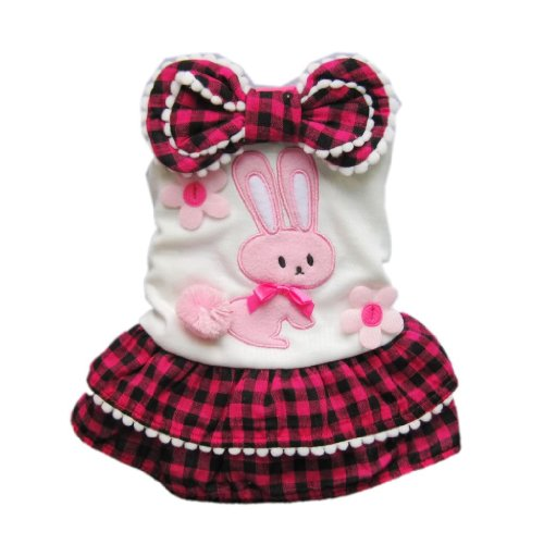 Cute Bunny Dog Dress Tiered Pet Dress Cozy Plaid Dog Shirt Dog Clothes Free Shipping,L, My Pet Supplies