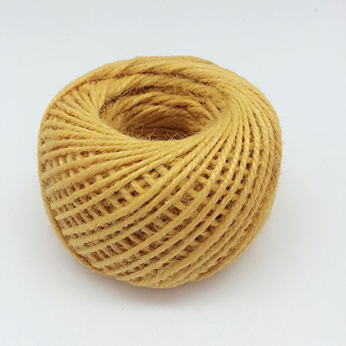 PEPPERLONELY 50M/Roll Jute Twine Cord Hemp Rope Cord 2mm, Gold