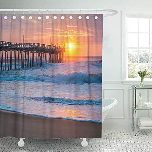 Ladble Waterproof Shower Curtain Curtains Orange Surf Serene Sunrise Over Fishing Pier at North Carolina Outer Banks Pink Atlantic 72