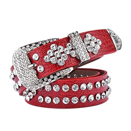 Limaomao Women's Western Belt with Rhinestones and Studs Studded Punk Rock Blet Leather Waistband (Color : Red, Size : 110cm)