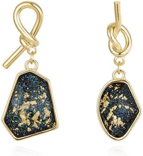 ZSML Pendientes de Papel de Oro Azul, diseño Largo de Esmalte de Invierno, Agujas de Plata 925, Material de aleación, 4.3 * 1.4 cm, Regalo de cumpleaños para el día de San Valentín