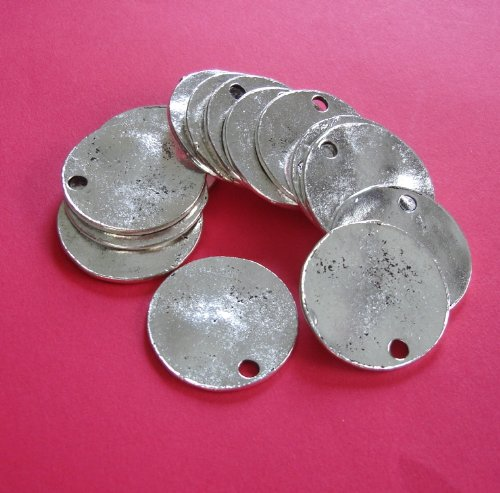 BeadsTreasure 10 Pcs- Antiqued Silver Plated Wavy Disc Stamping Blanks Tag Charms Round for Jewelry Making.