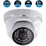 Security Dome Camera, ZY 2.0MP 3 in 1 (AHD/TVI/CVI) IR night vision 1080P surveillance analog camera 3.6mm lens ICR auto day night wide angle Outdoor/Indoor IP66 weatherproof(Not compatible with POE)