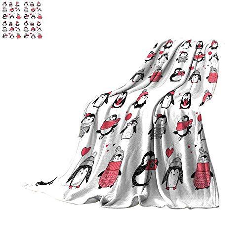 Winter Plush Blanket Cute Penguins Hand Drawn Style Set Merr