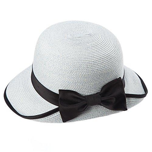 Siggi Womens Floppy Summer Sun Beach Panama Straw Hats UPF Packable Bucket Cloche Hat 56-59cm LightBlue