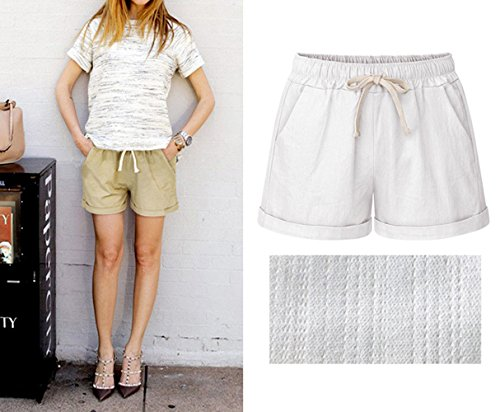 Con Da ulein Pantaloncini Spiaggia Corto Coulisse Fr Pantaloni Fox Shorts Bianca Baggy Donna Casual Estivo Moda RfUS8q