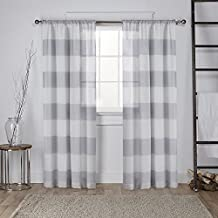 Exclusive Home Curtains Darma Linen Sheer Rod Pocket Window Curtain Panel Pair, Dove Grey, 54x84