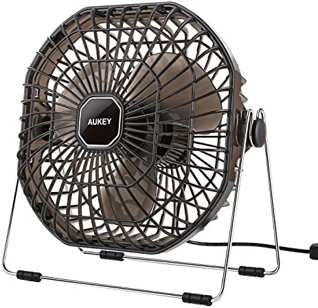 AUKEY USB Desk Fan, Ultra-Quiet Portable Table Fan with Strong Airflow for Home, Office and Bedroom, 7-Inch