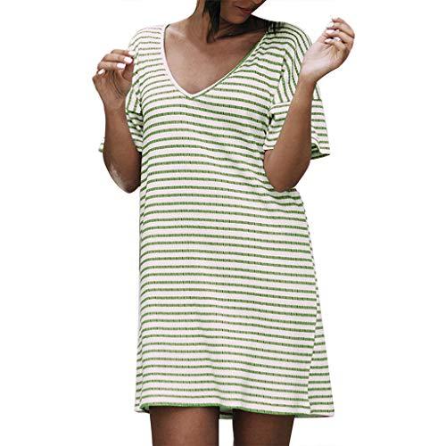28f773ff1c URIBAKE 2019 Women Casual Striped Print V-Neck Short Sleeve Loose Mini  Dress Color Optional Green