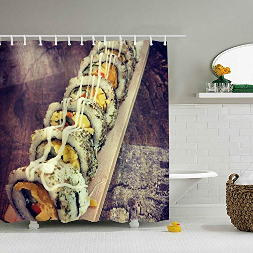 (Sushi Bath Curtain Durable Bathroom Curtain 71 ×)