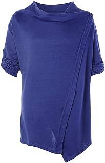 HUAIX Home Autunno Cardigan Top da Donna Top in Maglia da Donna Fashion Cardigan Lungo da Donna Camicia a Maniche Lunghe Camicia Top Khaki (Color : Blue, Size : Medium)