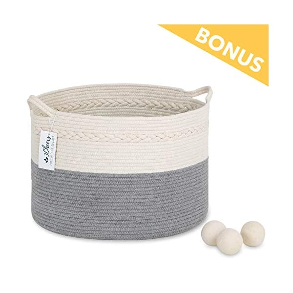 3Cheers Cotton Rope Storage Basket XXL 21″ X 13″| Extra Large Woven Storage Baby Nursery Laundry Basket with Handle | Blanket Basket for Living Room | Large Wicker Basket for Kids Toy | Laundry Hamper