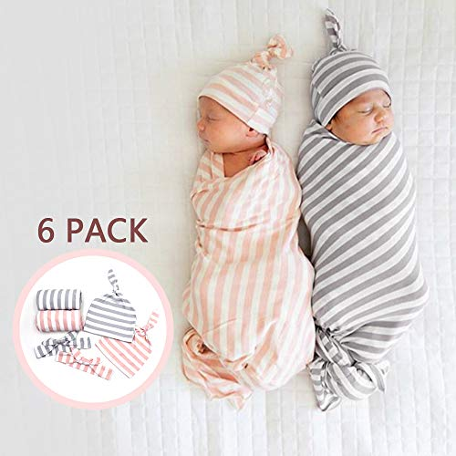 Stripe Receiving Blanket - Newborn Swaddle Blanket with Knot Hat - Stripe Printed Soft Receiving Blanket Baby Shower Swaddle Sets of 2