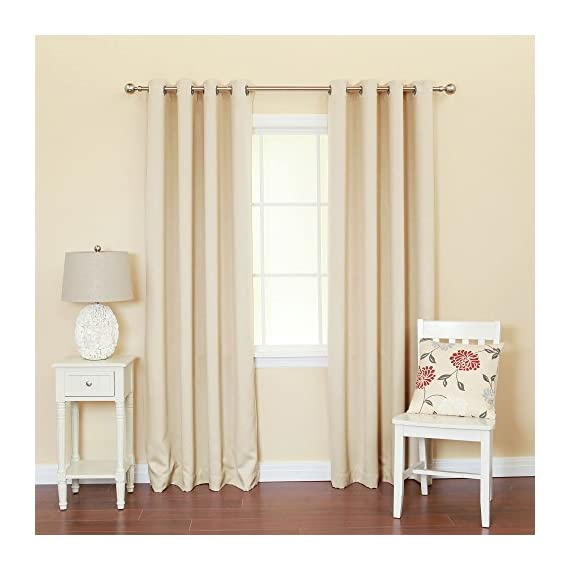 """Best Home Fashion Stainless Steel Nickel Grommet Top Solid Thermal Insulated Blackout Curtain - Hang with standard or decorative rod and brackets (not included) Pair has 16 silver grommets, 8 Grommets per panel; 1.6"""" Diameter of Grommet, Included Grommet Rim 2.7"""" Curtain style: Window Panel - living-room-soft-furnishings, living-room, draperies-curtains-shades - 51ZqH%2B3EiTL. SS570  -"""