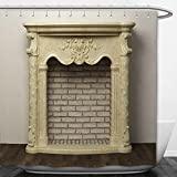 Beshowere Shower Curtain fireplace in the light interior of home