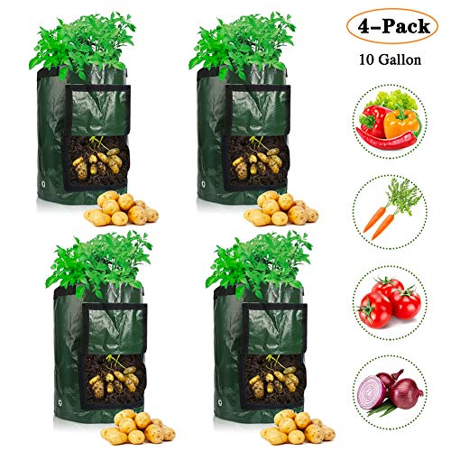 4 Pack 10 Gallon Garden Potato Grow Bags with Flap and Handles Aeration Fabric Pots Heavy Duty for Harvesting, Grow Vegetables Plant Tub for Potato, Carrot, Tomato, Onion Heavy Duty & Durable Bags