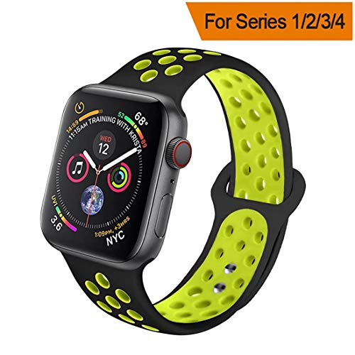 HILIMNY Compatible for Apple Watch Band 42MM/44MM, Soft Silicone Sports Replacement Compatible for iWatch Band Apple Watch Series 4/3 / 2/1, M/L, Black Volt