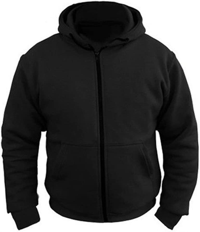 3XL MENS BLACK FLEECE HOODIE WITH KEVLAR REMOVABLE ARMOR MOTORBIKE MOTORCYCLE JACKET