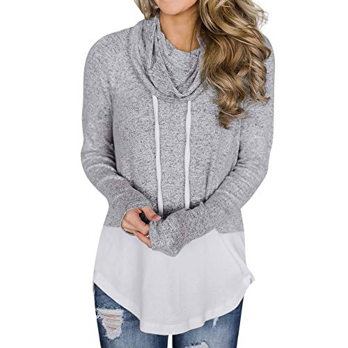 ZTTONE Women's Hoodie-Tops-Striped Cowl Neck Drawstring Hooded Pullover Sweatshirt with Pockets