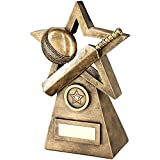 Lapal Dimension BRZ/GOLD CRICKET BALL/BAT ON STAR AND PYRAMID TROPHY - (1in CENTRE) 9.5in