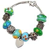 Memorial Gallery Eternal Green Remembrance Bead Pet Heart Urn Charm Bracelet, 7''