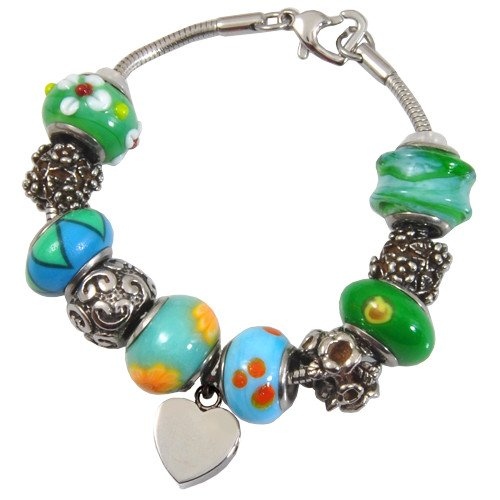 Memorial Gallery Eternal Green Remembrance Bead Pet Heart Urn Charm Bracelet, 7'' by Memorial Gallery