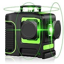レーザー墨出し器 12ライン グリーン 緑色 レーザー 自動補正 高輝度...