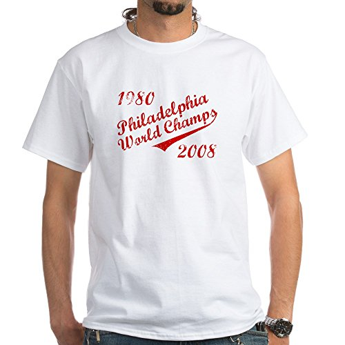 CafePress Philadelphia World Champs 1980 2008 White T-Shirt - 100% Cotton T-Shirt, (Philly Phanatic World Series)