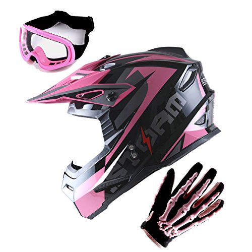 1Storm Adult Motocross Helmet BMX MX ATV Dirt Bike Helmet Racing Style Glossy Pink; + Goggles + Skeleton Pink Glove Bundle -