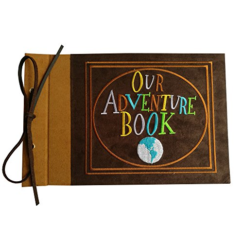 LINKEDWIN Embroidered Our Adventure Book, Suede Hardcover Scrapbook with Pixar Up Themed Postcards, Wedding and Anniversary Photo Album, Memory Keepsake, 11.6 x 7.5 inch, 80 Pages (Light Brown) (1 Year Anniversary Letter To My Boyfriend)