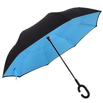 En Forma de C Doble Paraguas Invertido, a Prueba de Viento Plegable Soleado Lluvioso Anfibio paraguas Largo Creativo Mejor Para Viajar Yuso Del Coche ...